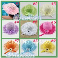 Baby Hat Big Brim Girl Flower Caps Kids Sun Hat with Flowers Children Summer Straw Hat Sunbonnet Cap 10pcs MH062