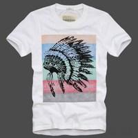 2014 New Fashion Brand Summer Mens Short Sleeve Top & Tees Amerindian Printed Casual Cotton Tee Shirt Men o-neck T-shirt