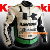 HOT !! Kawasaki automobile race clothing automobile race kawasaki motorcycle clothing plus size leather jacket coat / M-XXXL