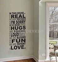 Free Shipping Removable Black Family Rules In This House Wall Art Sticker Decal Home Decor 4007-311