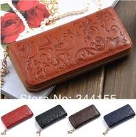 Hot Selling Genuine Leather Wallet Women Zipper Around Purse Flower pattern Lady Long Wallets Handbags,ANS-OL-60017QN