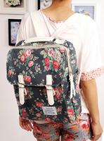 Small flower canvas vintage double-shoulder one shoulder cross-body bag women's student bag