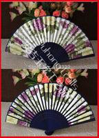 70pcs/lot free shipping assorted flower designs  bamboo fabric  fan
