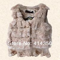 2014 new short design Children Girls Leather grass vest  outerwear plus size fur vest girl coat free shipping