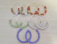 [Clear inventory] Cheap Price 7pari Fashion Jewelry Women's Shamballa Hoops Earrings crystal rhinestones Loop Earrings Mix Color