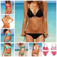 Women's fashion sexy swimwear solid push up bikini set High quality swimsuit for vacation, free shipping