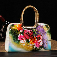 New arrival 2014 women's handbag vintage oil painting shaping chains handbag japanned leather bread bags