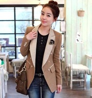 South Korea 2014 new winter coat Long Slim woolen suit leisure suit Outerwear