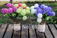5pcs/lot Artificial silk flowers hydrangea ball home decoration Wedding Bouquet Artificial Flowers 4 Colors Available