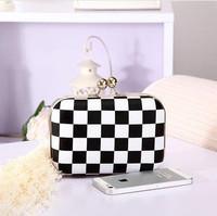 New 2014 women clutch  Black & White Checker day clutches Hasp fashion female Evening Bag handbag