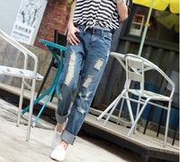 2014 plus size hole women's jeans trousers loose harem pants denim harem pants