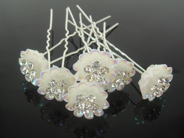 200 PCS Bridal Wedding Crystal Flower Hair Pins Hair Accessory //FREE SHIPPING(China (Mainland))
