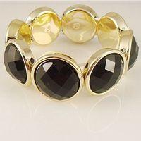 2014 New hot Korean styles jewelry Gold edge & Black artificial stones fashion Bracelets & Bangles for women girl