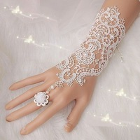 1Pair New Hot Sale Fashion White Lace Wedding Bride Bridal Gloves Ring Bracelet