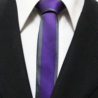 Mens Fashion Slim Grid Cravat Neckties For Man Novelty Grey With Purple Violette Neck Ties Gravatas 5CM F5-F-11