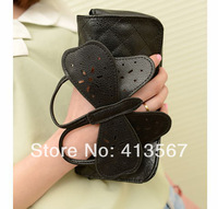 New arrival 2014 pu leather women clutch three-dimensional butterfly fashion clutch bag with chain belt! Free shipping
