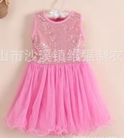 Fashion girls dress 2014 summer girls sleeveless paillette dress princess dress kid's dresses CD1