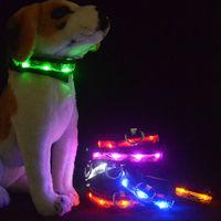 LED Personalized Dog Nylon Flashing Glow New Pet Light Safety Collar 6 Colors Free shipping ,