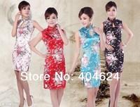 Freeshipping!Wholesale Charming Chinese Women's Mini Silk Party Sleeveless Sexy Dress Cheongsam S-2XL,White,Blue,Red,Black