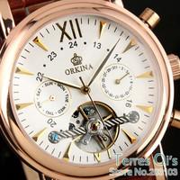 Orkina Fashion Tourbillion Men Day Automatic Brown Leather Wrist Mechanical Watch+Gift Box Free Ship