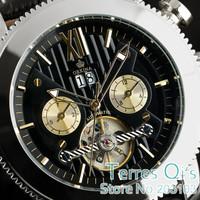 Orkina Fashion Tourbillion Men Day Black Dial Self-wind Wrist Genuine Leather Mechanical Watch+Gift Box Free Ship