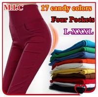 2014 New Arrival Women candy colors Slim pants & high waist elastic pencil pants Lady Trousers Plus Size L-XXXL
