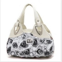 New Bag Spring Women Ladies Pouches 2014 Recreation Bag Handbag Fashion Rose Printed Package Free Shipping