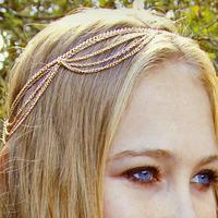 Standout Gold Multi Tassel Chain Headband Statement Hair Accessories  Gold Hair Chain 5318