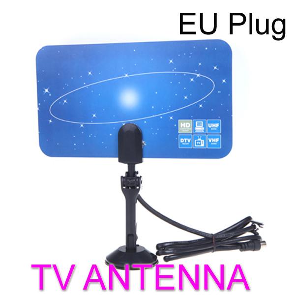 Digital Indoor TV Antenna HDTV DTV HD VHF UHF Flat Design High Gain EU Plug(China (Mainland))