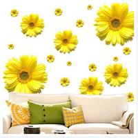2014 New 80*100cm Gold Yellow Flower Daisy Room Decor Vinyl 3D Wall Stickers Decor Bedroom Wall Art Decals Sticker