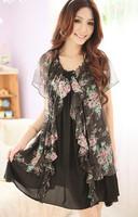 New 2014  Women  Casual Dress Slim Flower Floral Chiffon  Dress  SI064