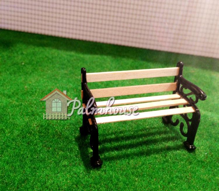 Dollhouse Miniature Super Mini Wood Small Garden Bench Length 5cm(China (Mainland))