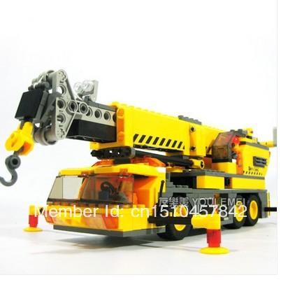 Free shipping Sluban crane Building Block Sets 380 pcs DIY Brick boy toy lego compatible(China (Mainland))