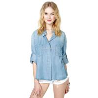 water wash blue denim shirt women backside placketing roll sleeve loose tops women's clothing new 2014 summer blouses