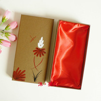 2014 new China style flower hand drawing gift box packaging for wallet size 21x10.5x3.5cm packaging box