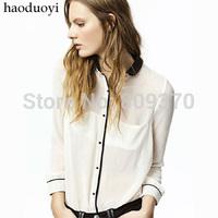 2014 detachable collar black color block chiffon shirt white shirts for women blouses women's clothing new 2014 fashion