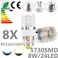 Free shipping 8X 24leds SMD 5730 E27 E14 G9 GU10 B22 8W LED bulb lamp ,Warm white/white LED Corn Bulb Light,waterproof