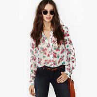 Flower print long-sleeve white turn-down collar chiffon shirt women's tops blouses shirts summer blouse women clothing new 2014