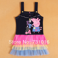 2014 New Bebe Girls Sleeveless Peppa Pig Printed Tutu Dresses Children Clothes,Summer Girl Kids Pepa Pig Cartoon Character Dress
