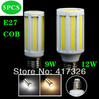 5pcs/Lot 9W/12W E27 COB LED Corn Light Lamp Cool White/Warm White 85-265V Super Bright Free Shipping