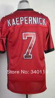 Free shipping 2013 New Drift Fashion #7 Colin Kaepernick Red Men's Authentic elite Football Jersey,Embroidery logos Mixed Order