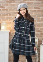 Free Shipping ! Women Fashion Large size Spring and Autumn Dress,Female Classic Drawstring Plaid Slim Dresses XL XXL XXXL 4XL