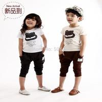 2014 child summer set boy small fedoras short-sleeve T-shirt pp pants twinset