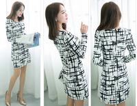 2014 Fashion new print dress summer women Chinese style long-sleeve slim hip striped sexy vintage woman dress white black S~XXL