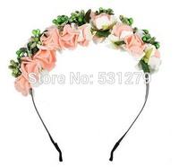 Fashion wedding artificial flower girl headband  PE foam rose DIY flower wreaths NW034 in free shipping