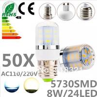 50pcs/lot 24leds SMD 5730 E27 E14 G9 GU10 B22 8W LED bulb lamp ,Warm white/white LED Corn Bulb Light,waterproof