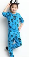 2014 girls clothing sets casual sport girls skull sets children clothing sets C10