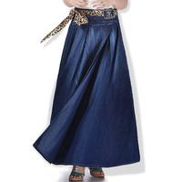 2014 spring autumn plus size long denim skirt casual half-length skirt vintage maxi skirt with belt floor-length a line skirt