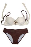 Glamour Diamond Fashion Jeweled Accent Front Push Up Bandeau Bikini Swimsuit Two Pieces Swimwear Bathing Suit Women Beach Wear