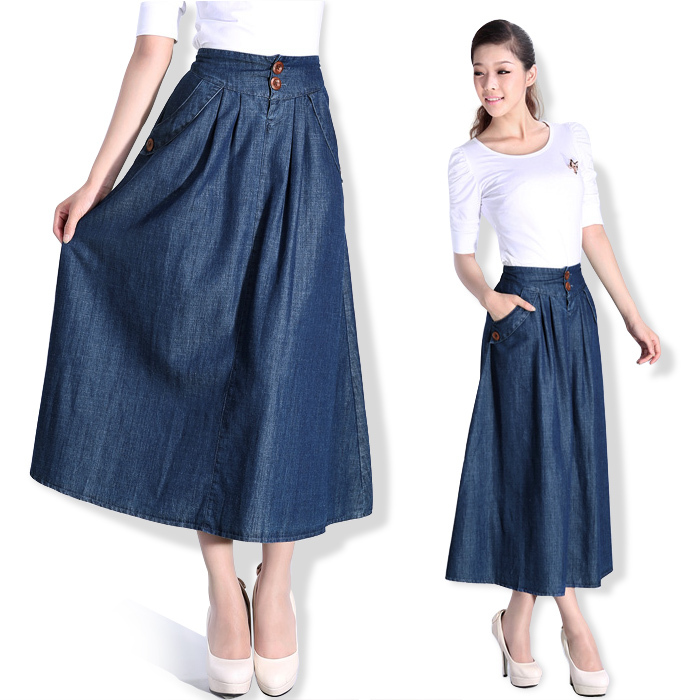 Best Wholesale 2015 Spring Autumn Plus Size Long Denim Skirt